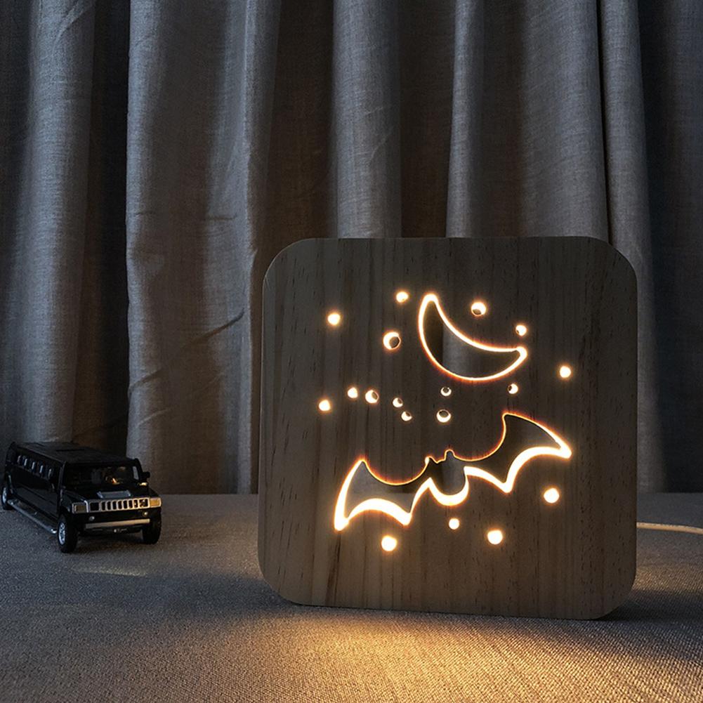 Led Wooden Night Light Halloween Bat Led Handicraft Lamp Animal Lamp Girts Lamp warm white