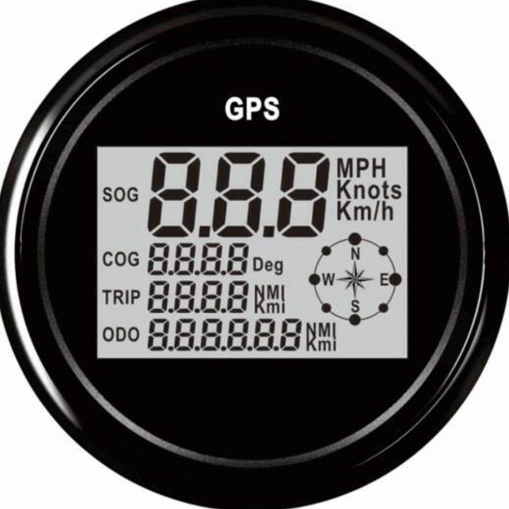 Digital Car Speedometer GPS Odometer 85mm 0-999 knots km/h mph 12V/24V With Backlight Yacht Vessel Motorcycle Boat Car Black shell black face
