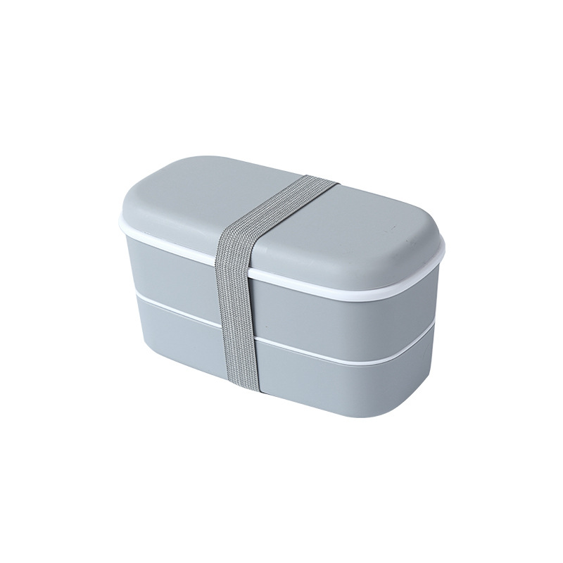 Double Layer Frosted Lunch Box With Built-in Tableware Food Storage  Container gray