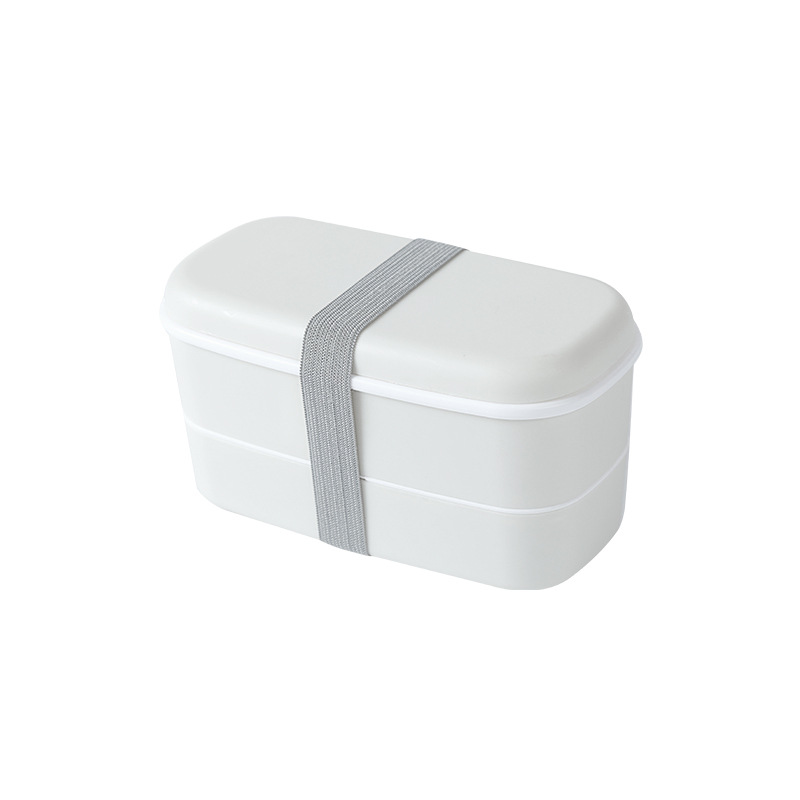 Double Layer Frosted Lunch Box With Built-in Tableware Food Storage  Container Off-white