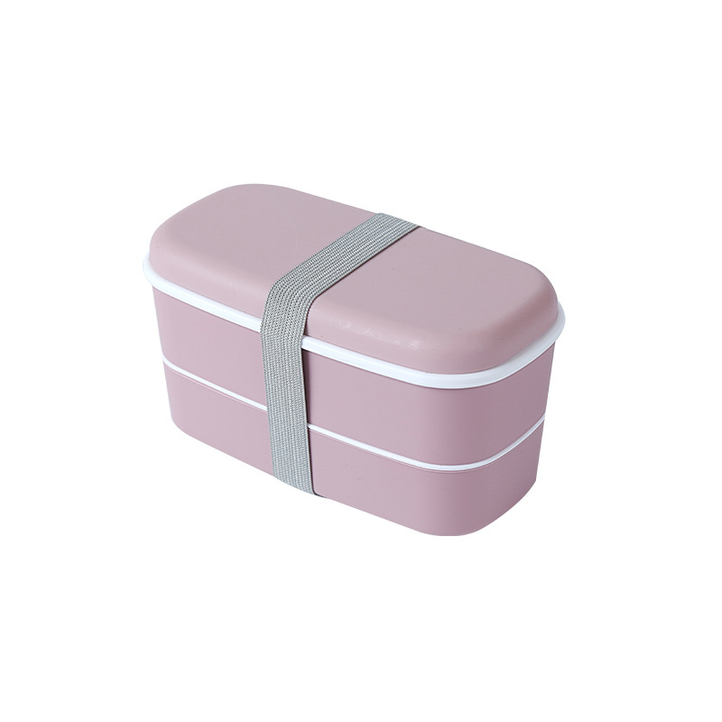 Double Layer Frosted Lunch Box With Built-in Tableware Food Storage  Container Pink