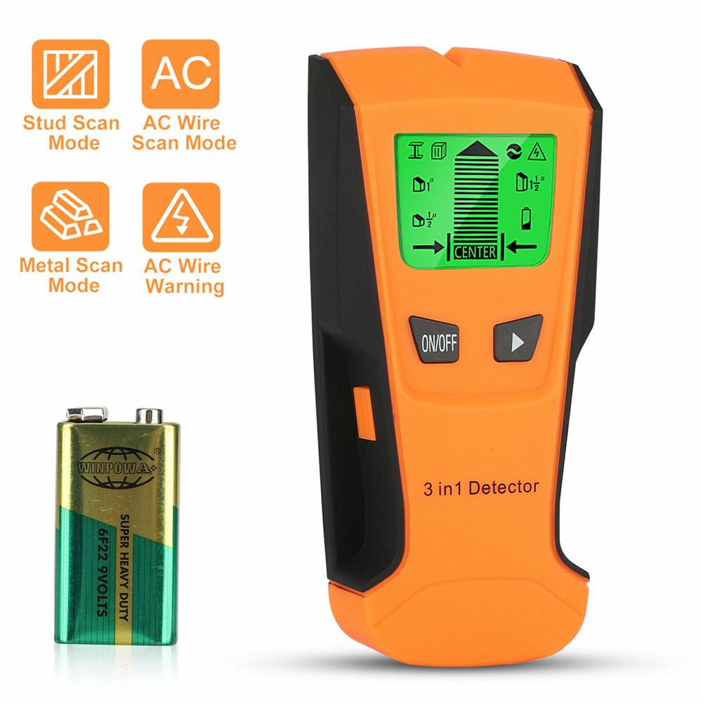 3 In 1 Digital  Stud  Finder Wood Metal Pipe Wire Wall Sensor Scanner Lcd Detector