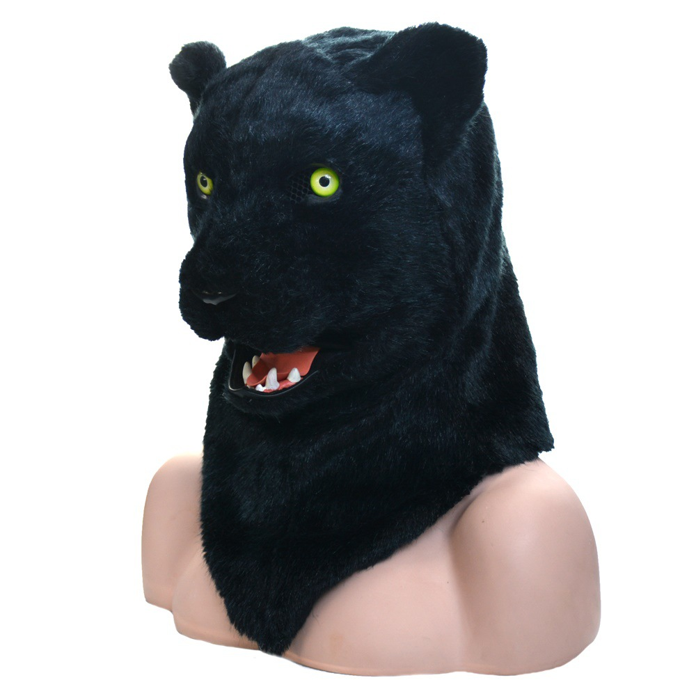 Funny Tools Activity Props Talking Plush Leopord  Mask Handmade Props black