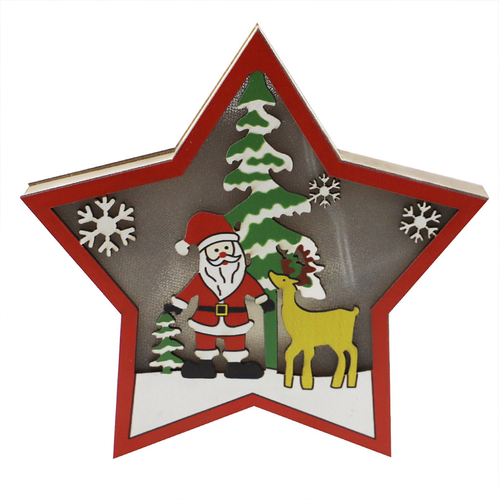 Wooden Christmas  Ornaments Five-pointed Star With Led Light Table Decoration Crafts JM00911 Elderly
