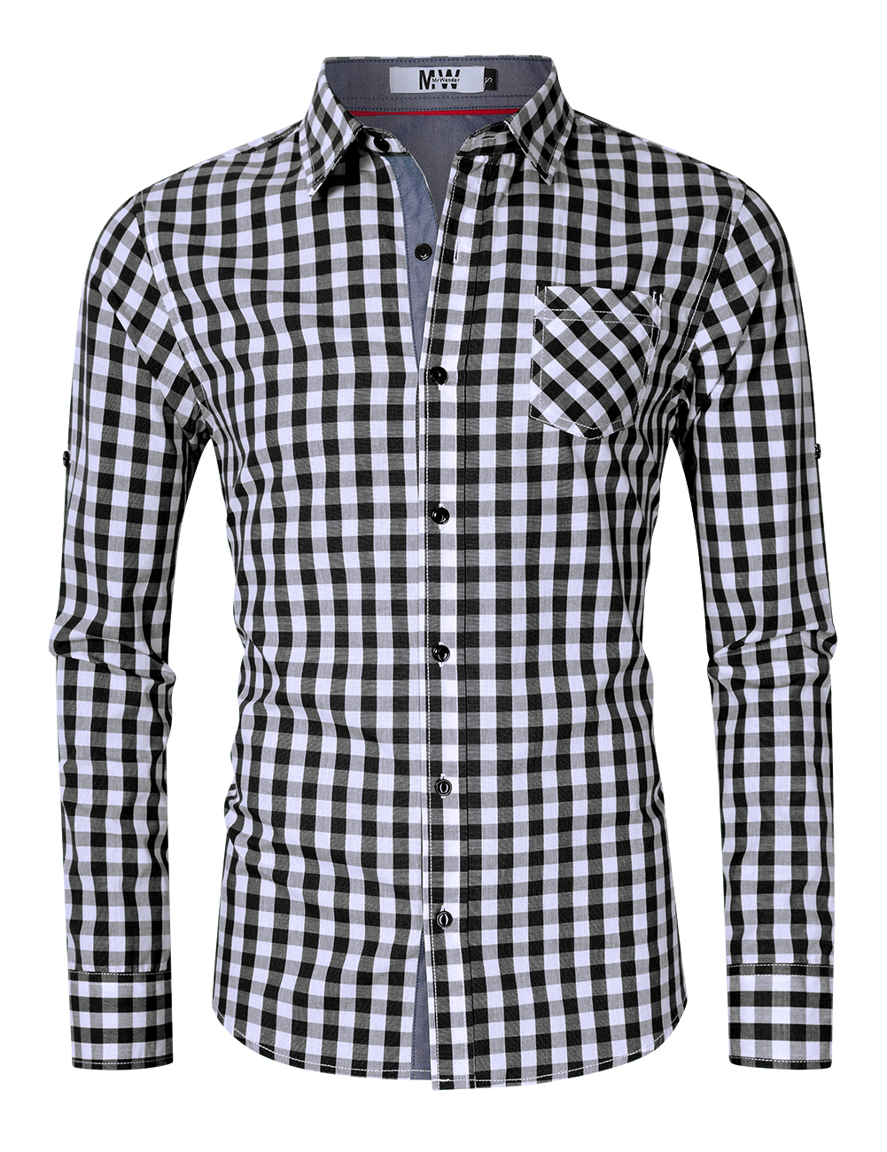 MrWonder Men's Slim Fit 100% Cotton Button Down Long Sleeve Plaid Shirt Black and white grid_L