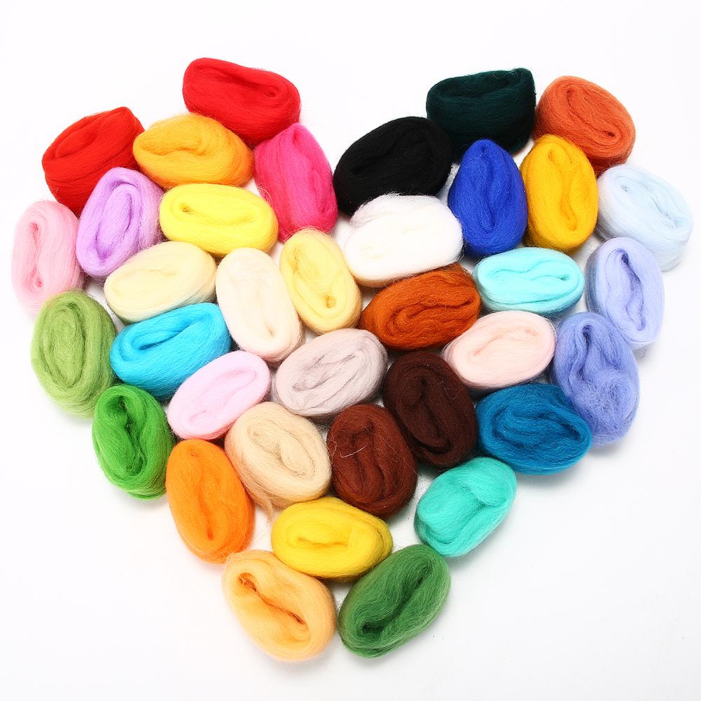 [EU Direct] Needle Felting Wool Set of 36 Colors Wool Roving Fibre Wool Yarn Roving for Needle Felting Hand Spinning DIY Craft Materials