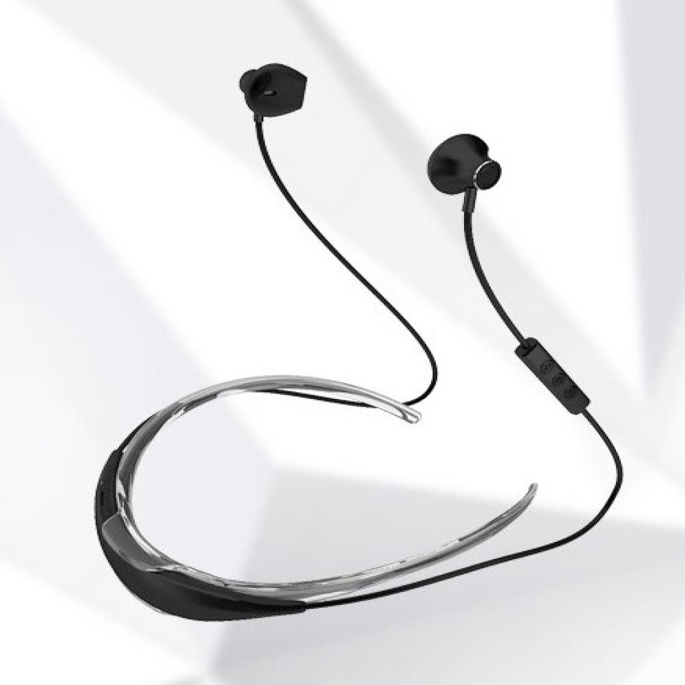 Hanging Neck Bluetooth Earphone X19C Wireless Sports Headphone Earbuds black
