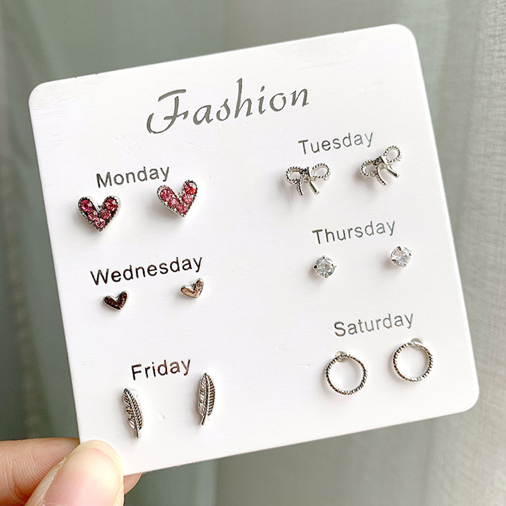 6Pairs Simple Cute Earrings Ear Studs for Outdoor Date Wear 2#Bow love