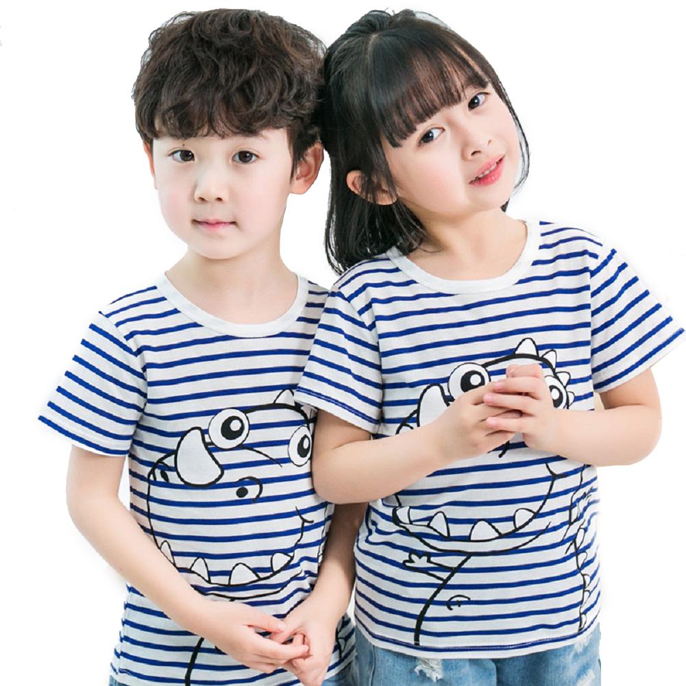 Children Short Sleeve Cartoon Pattern T-shirt Boys Girls Undershirt Z blue strip dinosaur_130(suitable for 120-130cm)