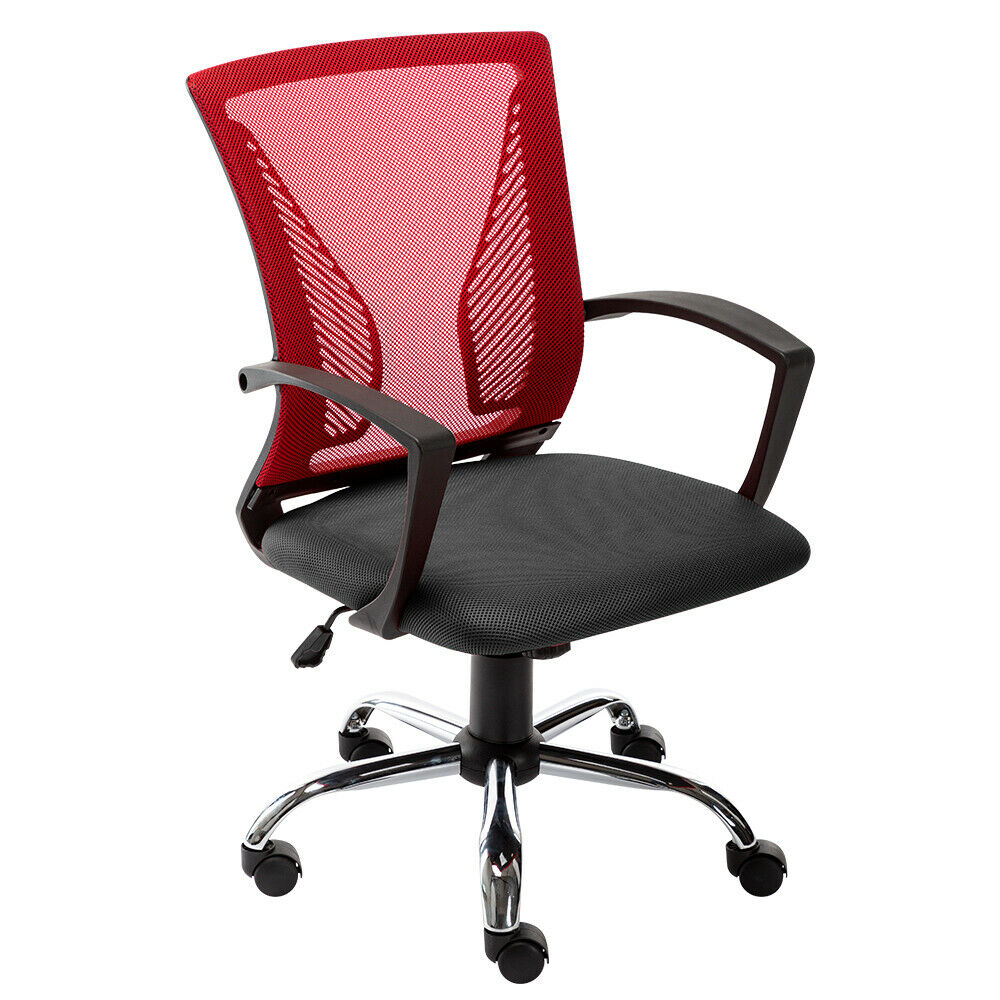 [US Direct] Art Life Mid Back Office Chair-Ergonomic Home Desk Chair with Lumbar Support-Mordern Mesh Computer Chair-Adjustable Rolling Swivel Chair (Black+Red)