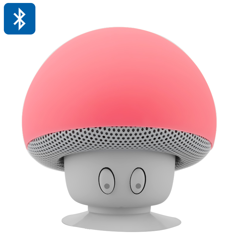 Mushroom Bluetooth Speaker - Built-in Microphone, Splash-Proof Design, Suction Cup, Capable of Answering Calls (Red)