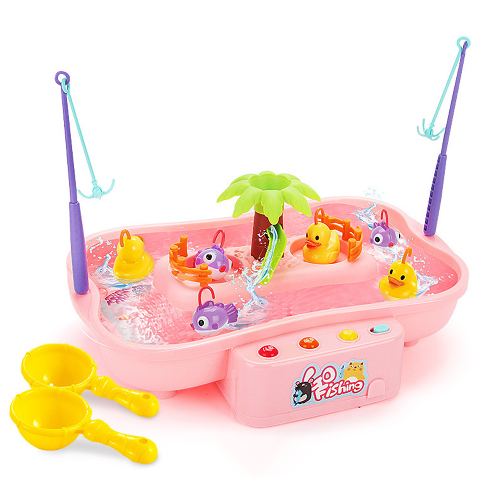 Kids Fishing Toys Electric Water Cycle Music Light Baby Bath Toys Child Game Fish Outdoor Toys Fishing Games For Children 889144 pink 3 duck 3 fish 0.56KG