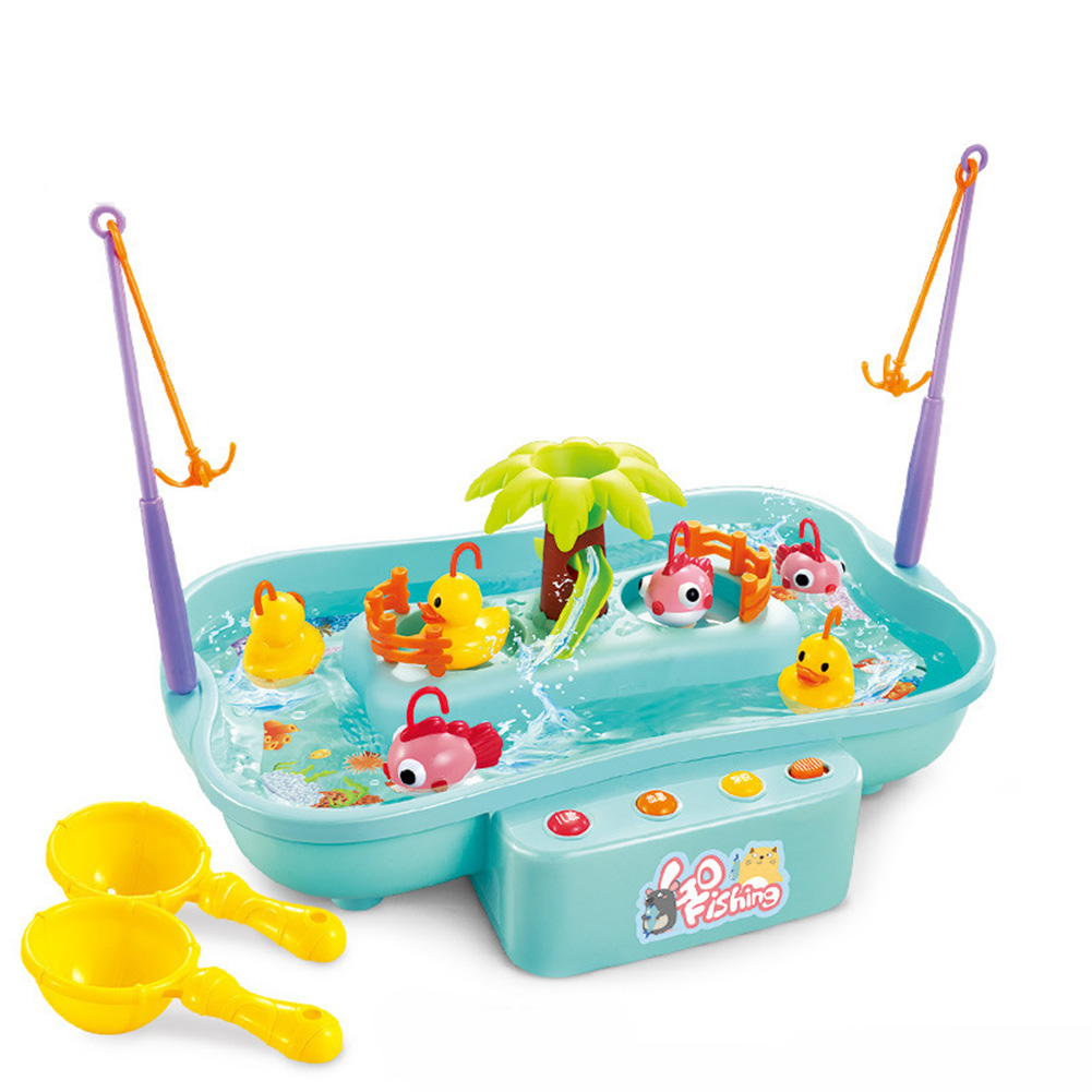 Kids Fishing Toys Electric Water Cycle Music Light Baby Bath Toys Child Game Fish Outdoor Toys Fishing Games For Children 889143 blue 3 duck 3 fish 0.55KG