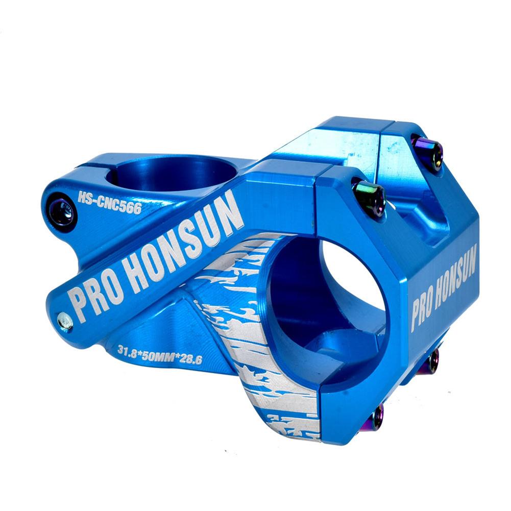 Colorful Bike Stem 28.6mm*31.8mm Hollow Short Stem Cnc Mountain Bicycle Handlebar Stem 50MM / blue_50MM / 0 degree