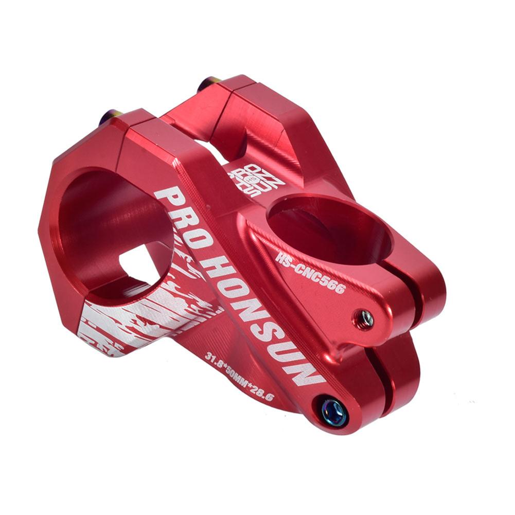 Colorful Bike Stem 28.6mm*31.8mm Hollow Short Stem Cnc Mountain Bicycle Handlebar Stem 50MM / red_50MM / 0 degree