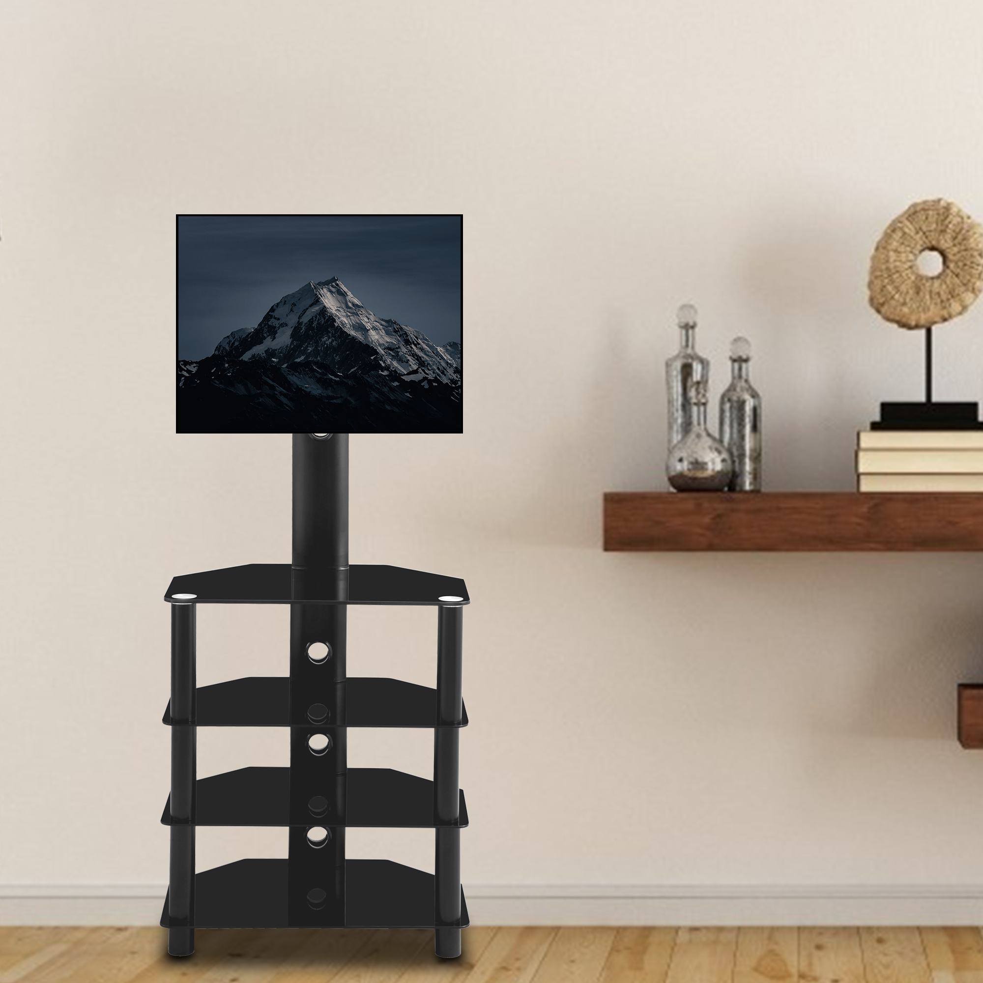 [US Direct] Black Multi-function Angle and height adjustable 4-Tier tempered glass metal frame Floor TV stand, LCD/Plasma TV bracket Four Layers Of Glass Shelf For Multiple Media Devices Panel TV and Curved TV