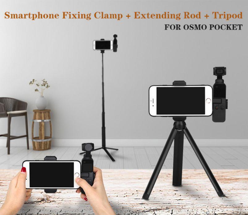 Smartphone Fixing Bracket Clamp Extending Rod Tripod for DJI OSMO POCKET Mobile phone bracket + (aluminum alloy) tripod + extension rod