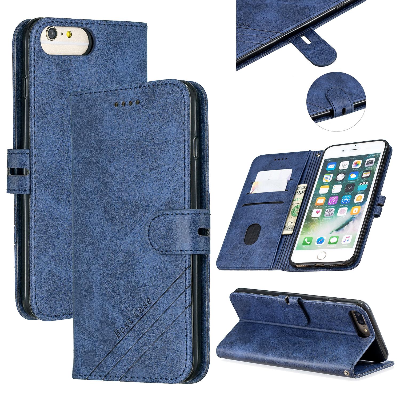 For iPhone 6 plus / 6S plus / 7 plus / 8 plus Denim Pattern Solid Color Flip Wallet PU Leather Protective Phone Case with Buckle & Bracket blue