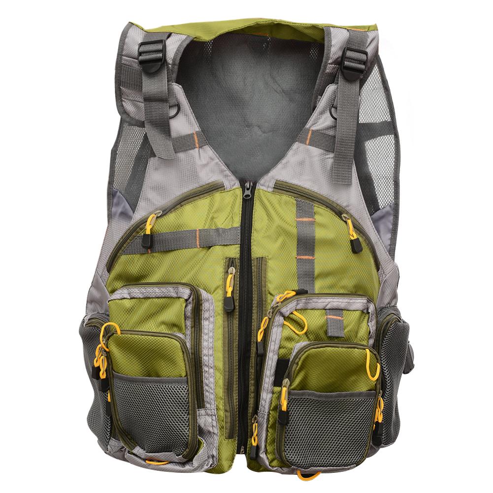 [US Direct] Fly Fishing Mesh Vest Outdoor Breathable Backpack Gear Vests Adjustable Size for Men Women