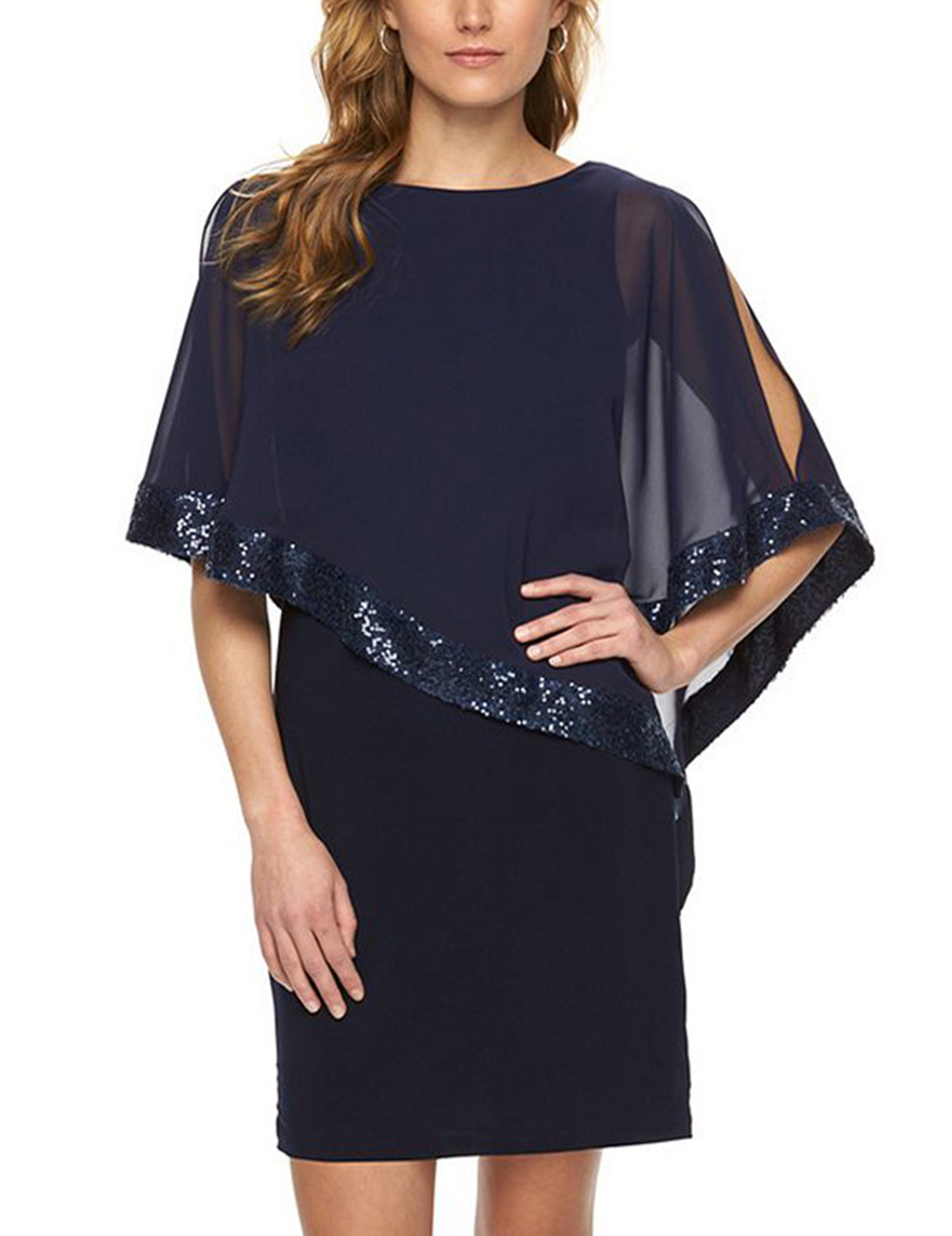 Women Stitching Sequin Fold Dress Blue M