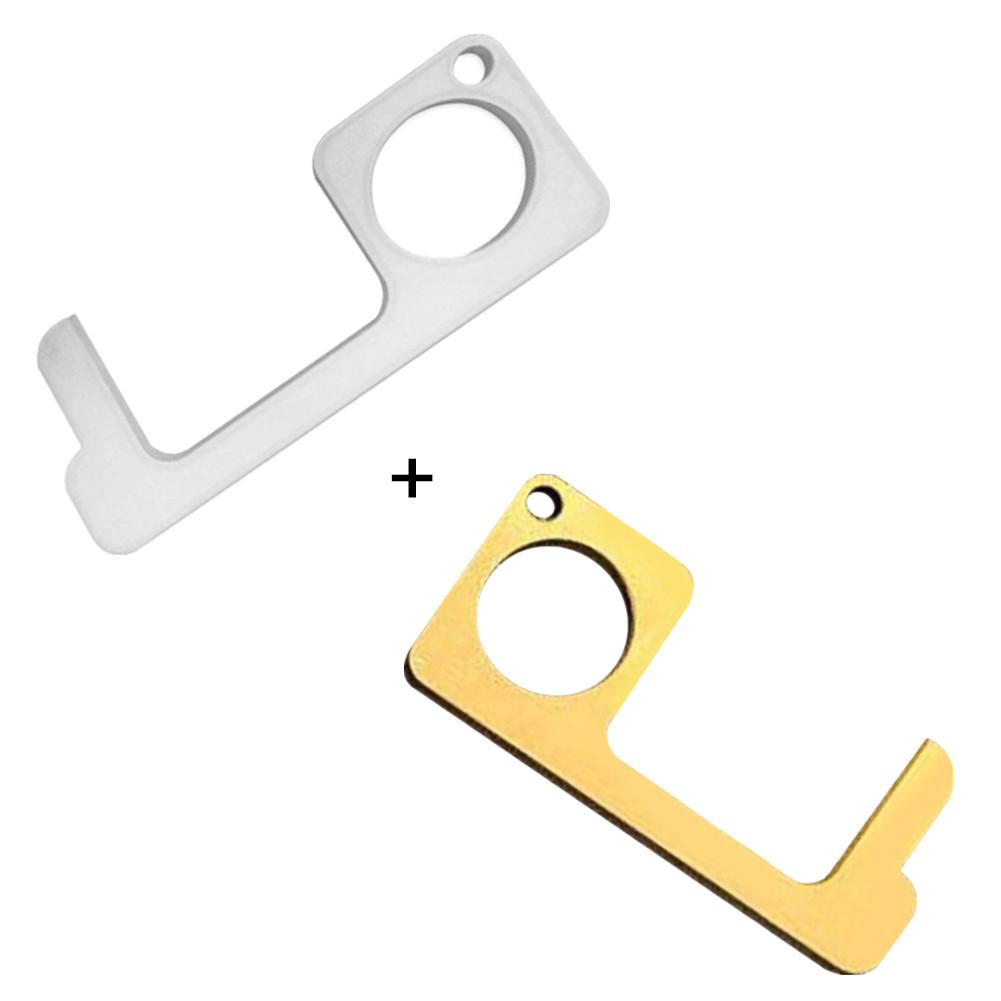 2Pcs Safety Door Opener Non Contact Door Hook Metal Handle for Elevator Gold 1pcs+Silver 1pcs