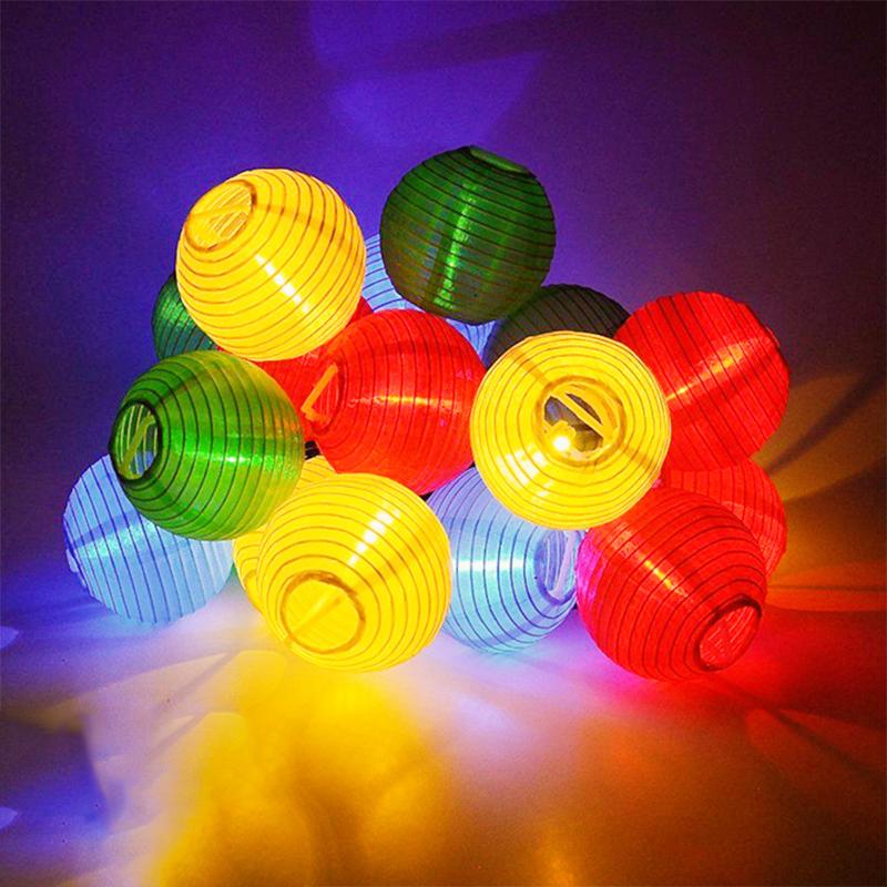 20 LED Solar-Powered Lantern String Light Yard Garden Festival Wedding Decoration  Colorful (red, yellow, blue, green)
