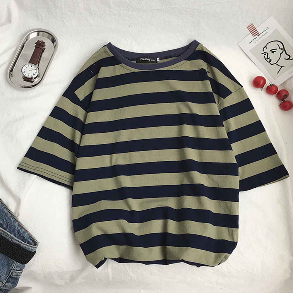 Men Ripped Middle Sleeve T-shirt Casual Loose Fashion Shirt Tops Striped t-shirt green_M