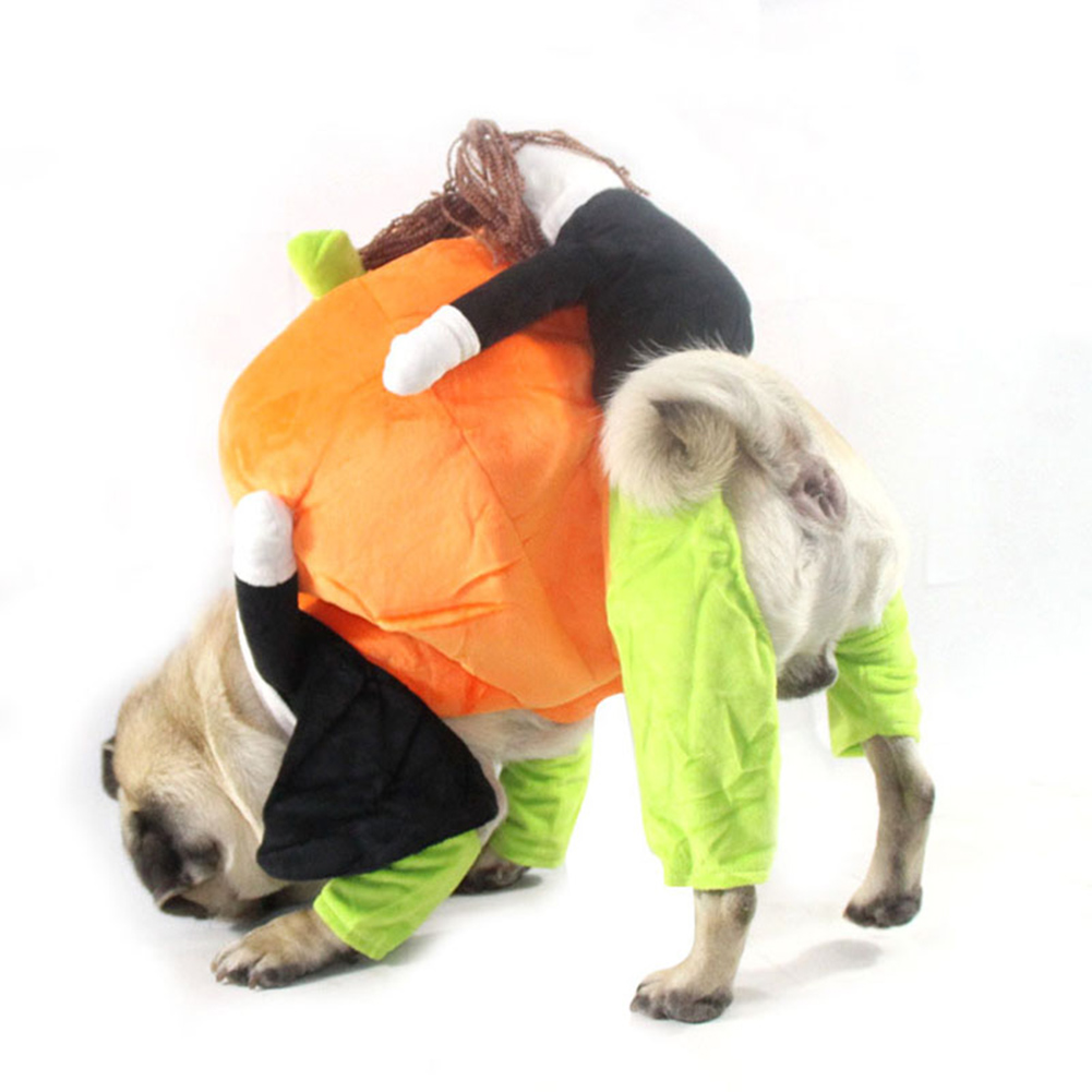 Pet Halloween Cosplay Clothes Funny Pumpkin Dog Costume for Small Dog black_M