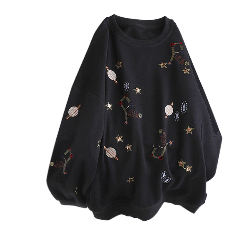 Women Autumn Sweatshirts Embroidered Hooded Blouse Loose Long Sleeves Tops Black_L