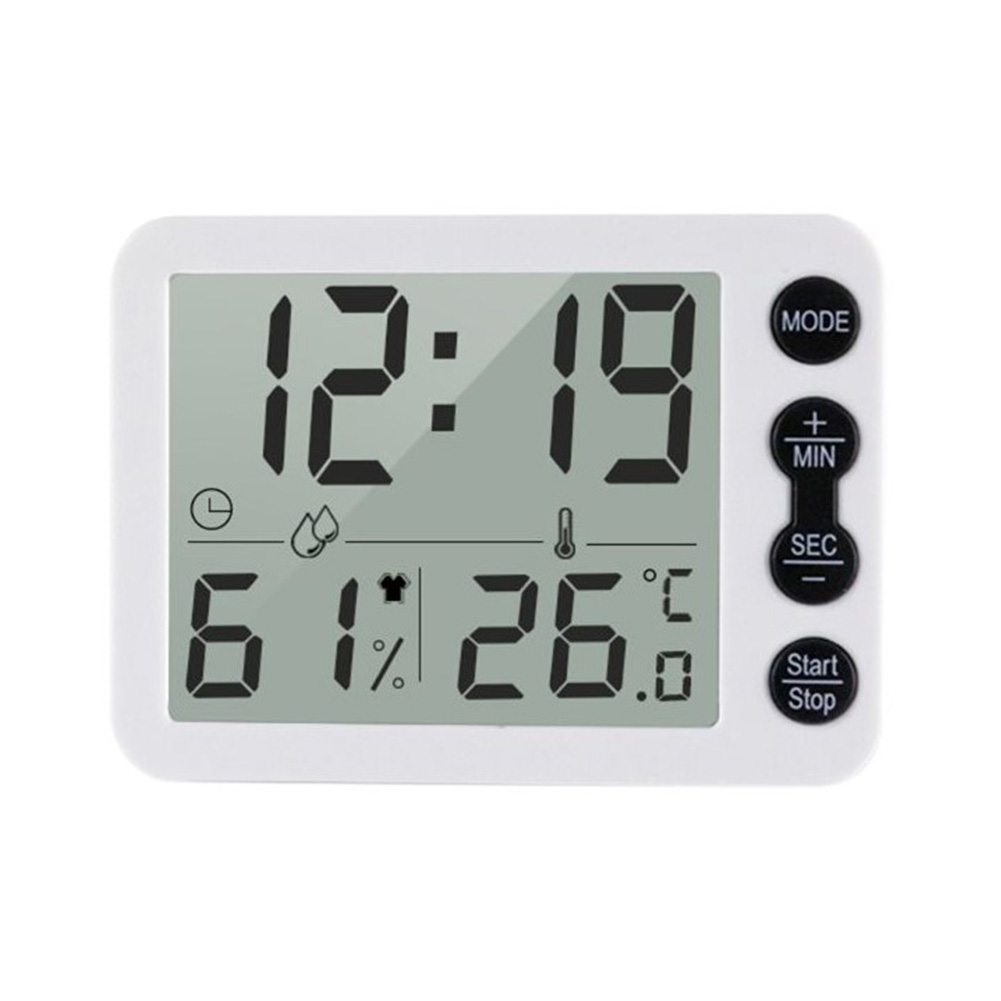 9.2*6.7*1.2cm Smart Thermometer Temperature Humidity Monitor Clock Alarm Timer C/F Indoor LCD Screen Hygrometer  white