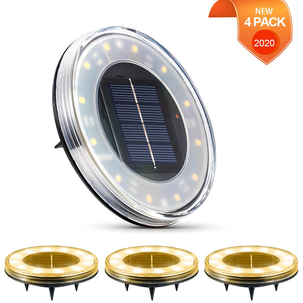 Litake 4 PACK IP68 Waterproof Smart Solar Disk Lights, 18 LED Solar Garden Ground Lights Outdoor Walkway Deck for Patio Pathway Lawn Yard Driveway