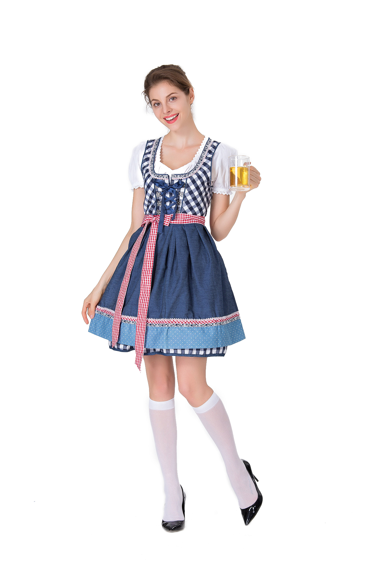 Women Dirndl Plaid Pattern Bavaria Style Uniform Oktoberfest Costume Beer Festival Dress blue_L