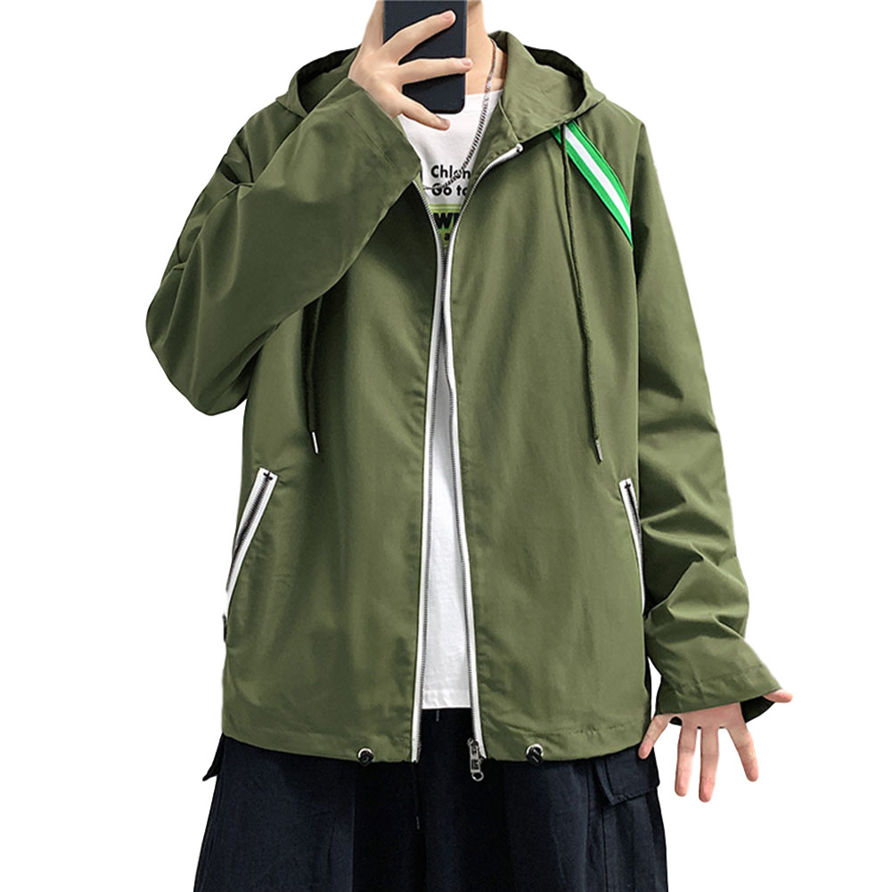 Men's Jacket Autumn Loose Solid Color Large Size Hooded Cardigan olive Green_L