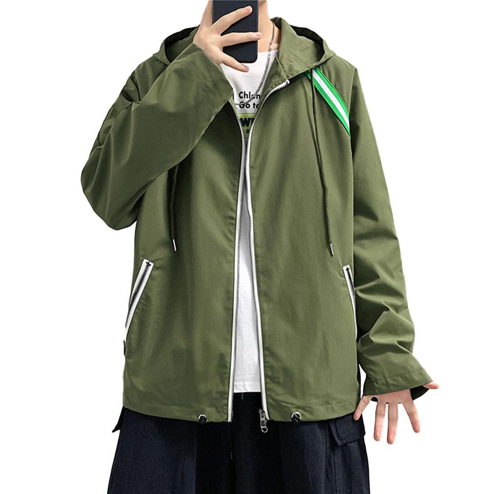 Men's Jacket Autumn Loose Solid Color Large Size Hooded Cardigan olive Green_M