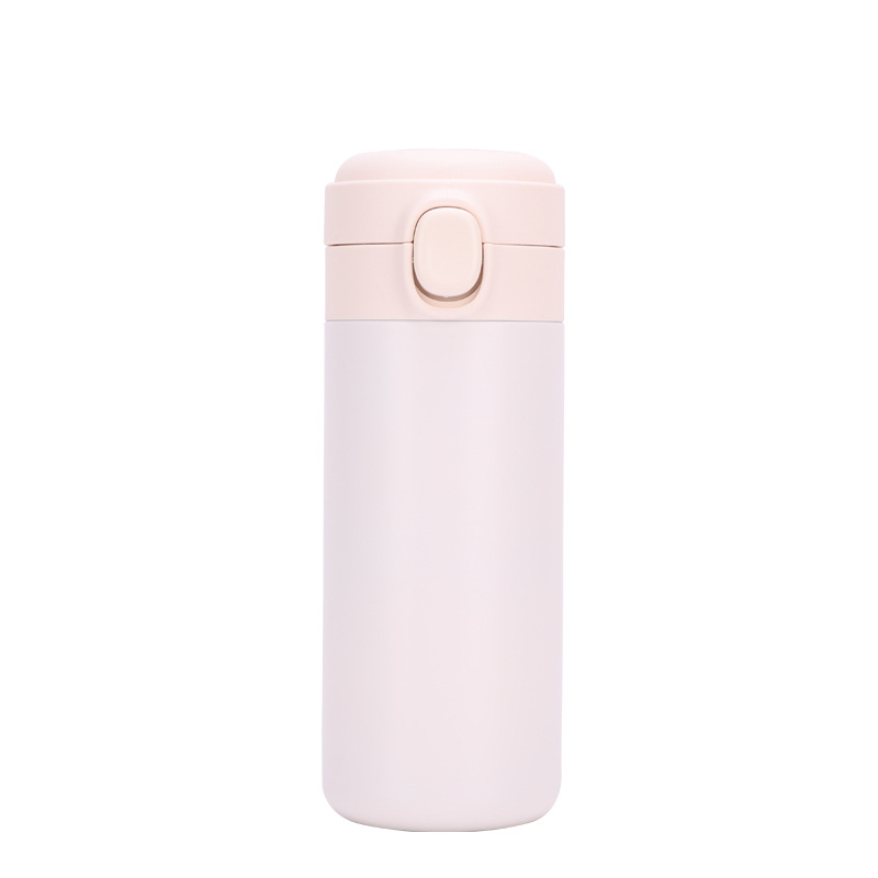 Portable  Thermos  Bottle Stainless Steel Insulated Water Cup With  Button creamy-white