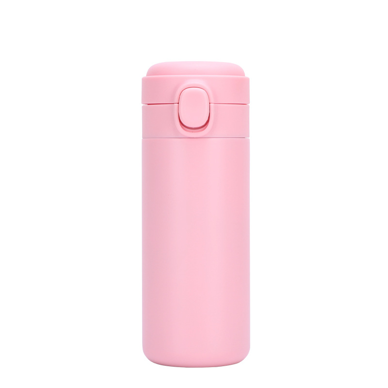 Portable  Thermos  Bottle Stainless Steel Insulated Water Cup With  Button Pink