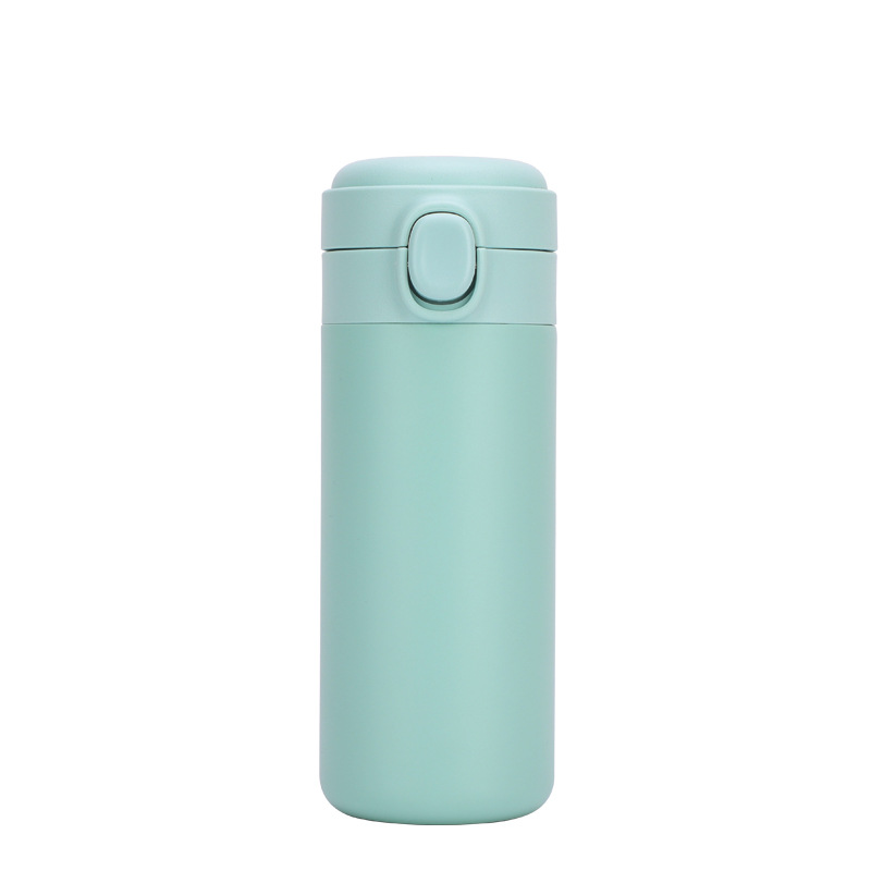 Portable  Thermos  Bottle Stainless Steel Insulated Water Cup With  Button green