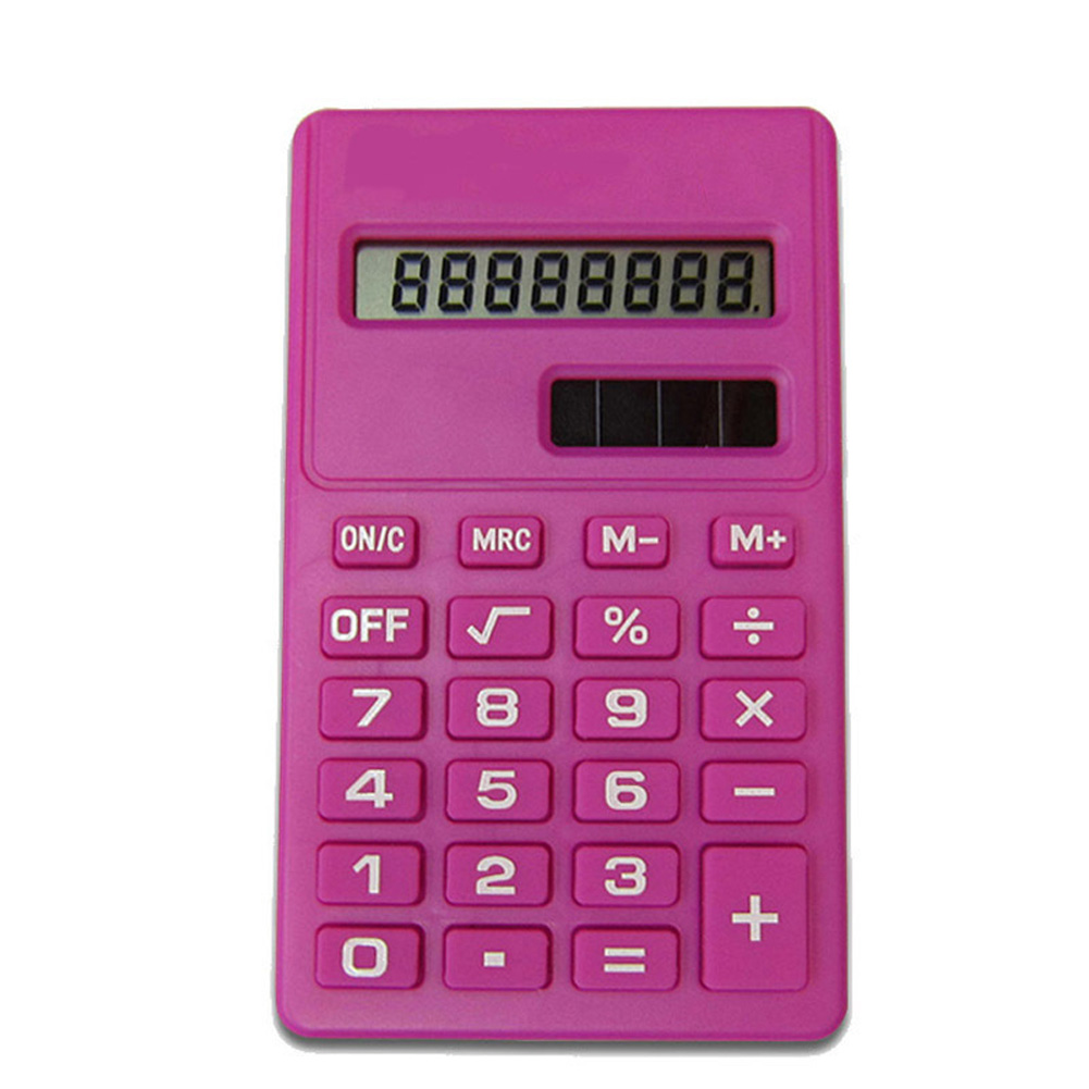 LCD 8 Digit Ultra Slim Calculator Soft Silicone Stationery Scientific Portable Students Calculator rose Red