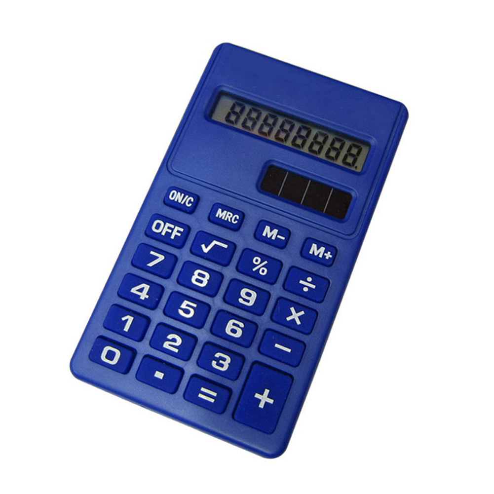 LCD 8 Digit Ultra Slim Calculator Soft Silicone Stationery Scientific Portable Students Calculator Navy blue