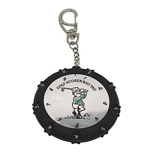 Golf Score Counter 18 Holes Golf Score Stroke Shot Counter Keeper Round Scoring Tag with Clip Keychain  Silver