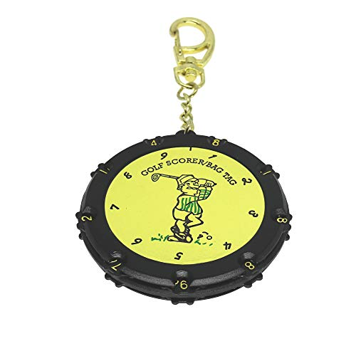 Golf Score Counter 18 Holes Golf Score Stroke Shot Counter Keeper Round Scoring Tag with Clip Keychain  Golden