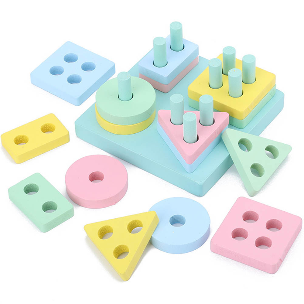 Kids  Wooden  Early  Education  Sets  Pillars Intelligence Color Geometric Shape Cognitive Toys #2