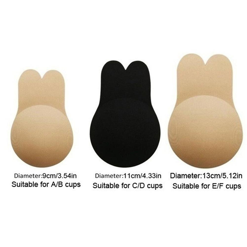 Women Self Adhesive Chest Bra Rabbit Ear Sexy Back Hidden Stealth Silicone Bra Gel Stick Strapless Bra Beige_9cm
