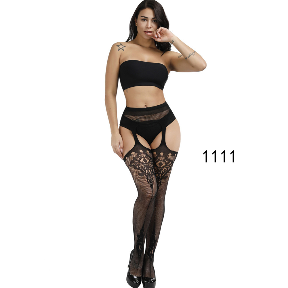 Women's Silk Stockings Lace Thigh High Stockings Hollow Mesh Lace Fishnet Stockings Pantyhose 1111