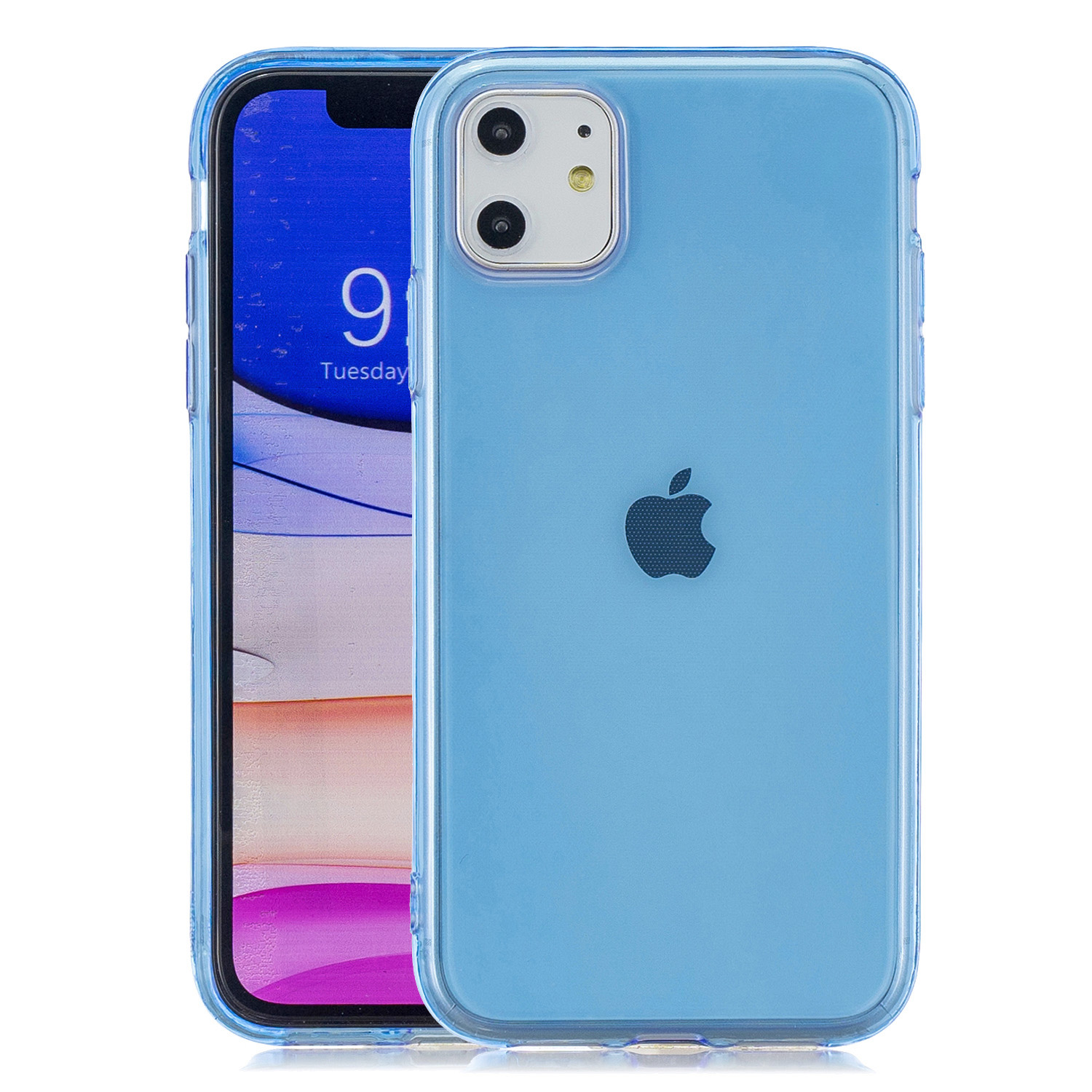 for iPhone 11 / 11 Pro / 11 Pro Max Clear Colorful TPU Back Cover Cellphone Case Shell Light blue
