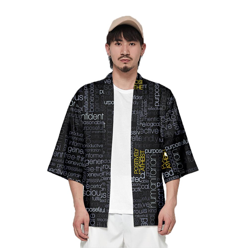 Unisex Fashion Thin Sunscreen Robe Summer Half Sleeve Loose Kimono Clothes V00021-3M25_XL
