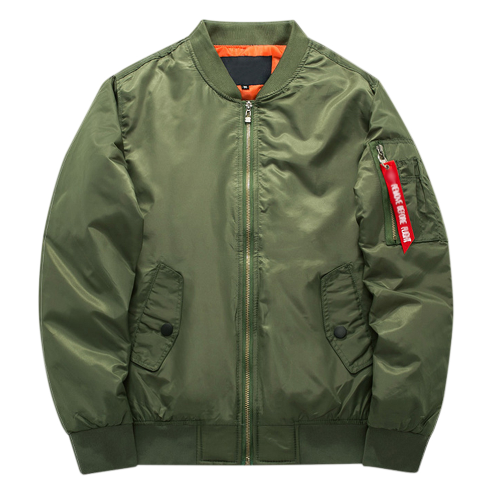Men Winter Thick Jacket Warm Casual Cotton Short Coat Outwear Tops Army Green_L