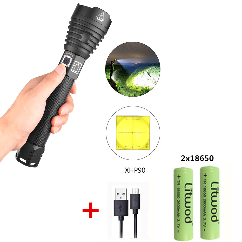 XHP90 LED 3 Modes Dimming Flashlight High Brightness USB Charging Torch with 2 Batteries black_2x18650 battery