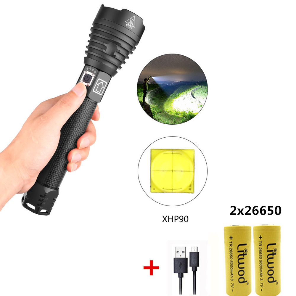 XHP90 LED 3 Modes Dimming Flashlight High Brightness USB Charging Torch with 2 Batteries black_2x26650 battery