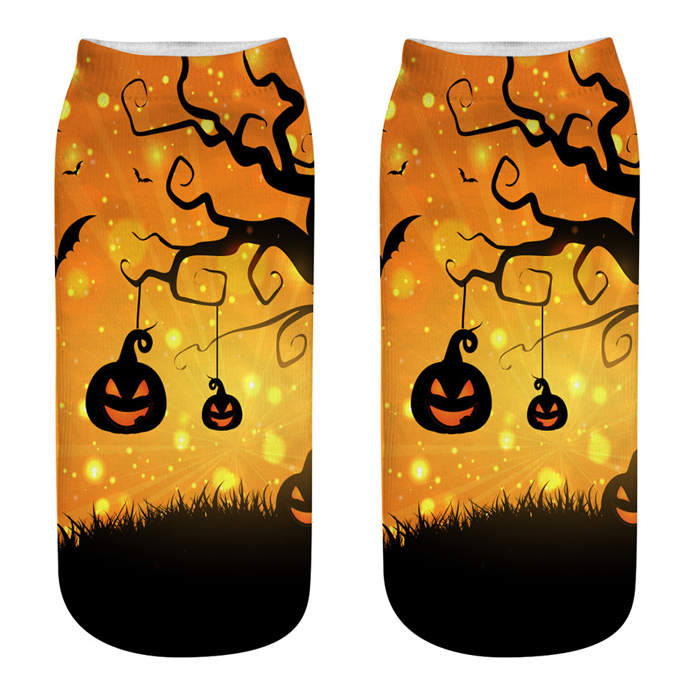 Unisex Cartoon 3D Halloween Element Printing Socks Breathable Sweat-Absorbent Socks   WSJ10_one size